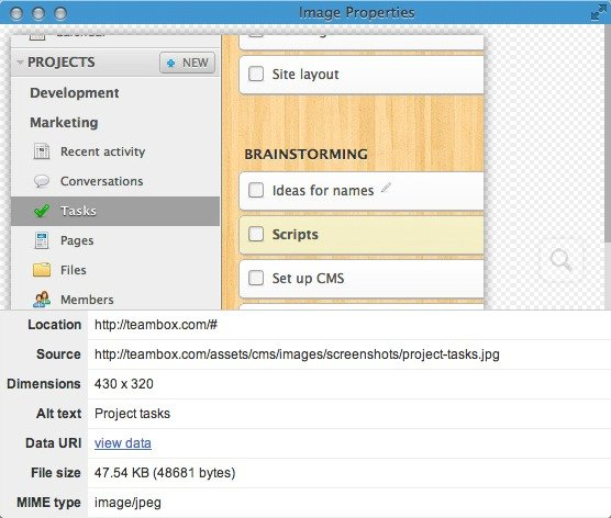 View image properties and zoom in or out in Chrome.