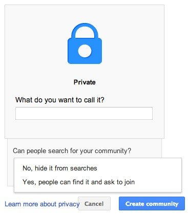 Create a name for your Google+ community.
