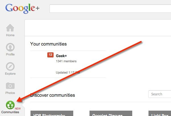 Click on Communities in the left navigation sidebar.
