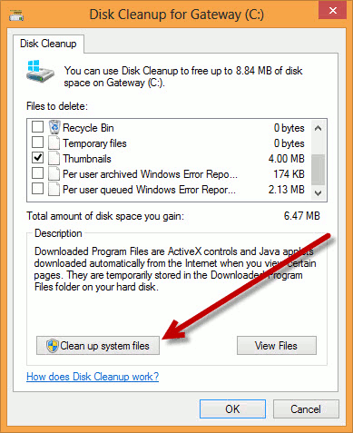 Select the clean up system files option.