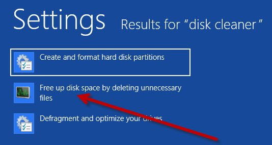 Choose the Free up disk space by deleting unnecessary files options.