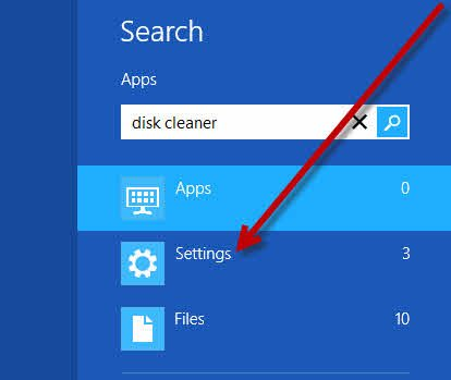 Search for Disk Cleaner and choose Settings under search box.