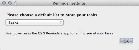 Eisenpower settings - choose a default task list in the Mac Reminders app.