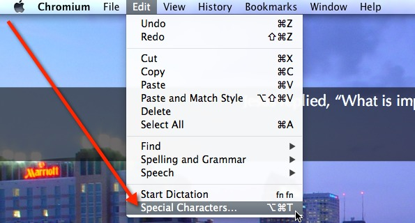 Select Special Characters from the Edit menu to use Emoji.