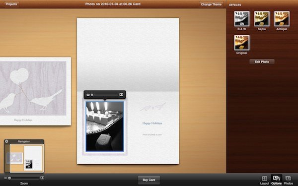 iPhoto: creating your own greeting card