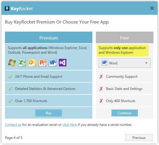 Unlock one free application in KeyRocket.