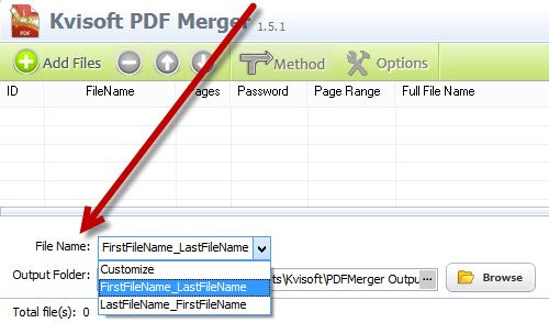 Customize the file name format for your merged PDF files.