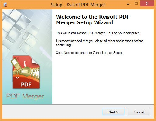 Install Kvisoft PDF Merger on your Windows computer.