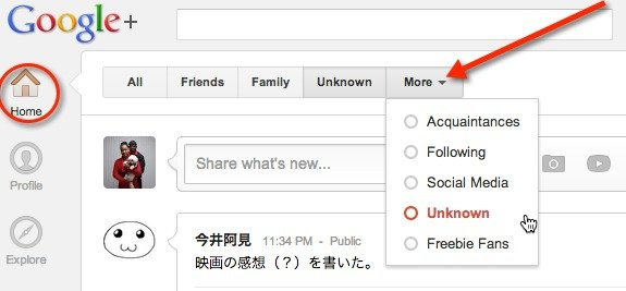 Select the Google+ Circle that you want to mute from the More menu.