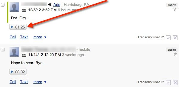 Recorded Google Voice calls appear in your Inbox like a voicemail message.