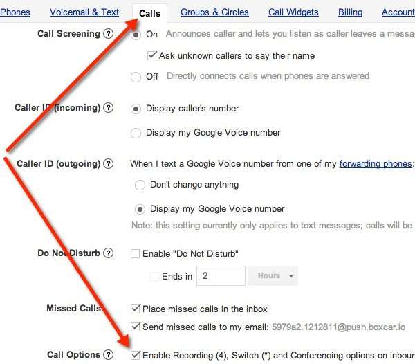 Make sure Call Options are enabled in Google Voice Settings to record calls.