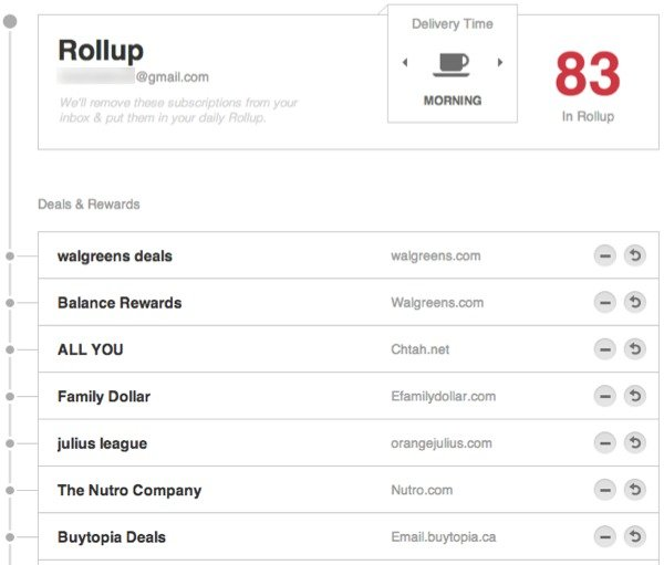 View the items in your rollup and manage them.