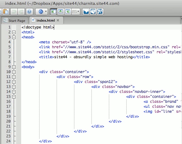 Edit the HTMl of your Site44 website.