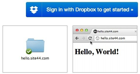 Sign in with Dropbox to get started with Site44.