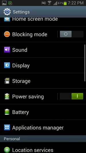 Android Settings Application Manger