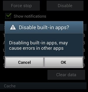 Confirmatin in disabling app in Android
