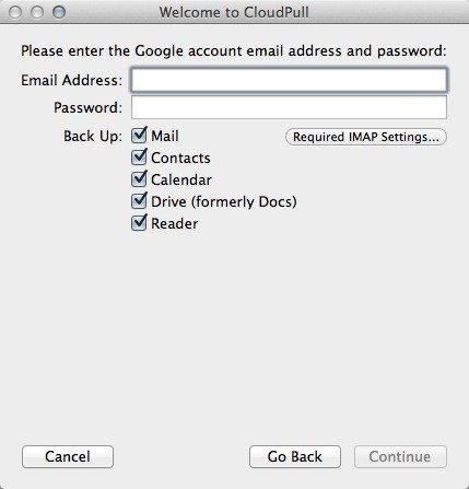 Enter your Google account credentials and choose the services to back up.