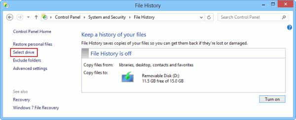 file history select drive