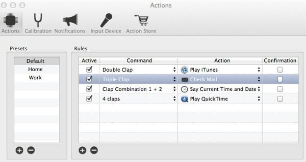 Create actions in iClapper.