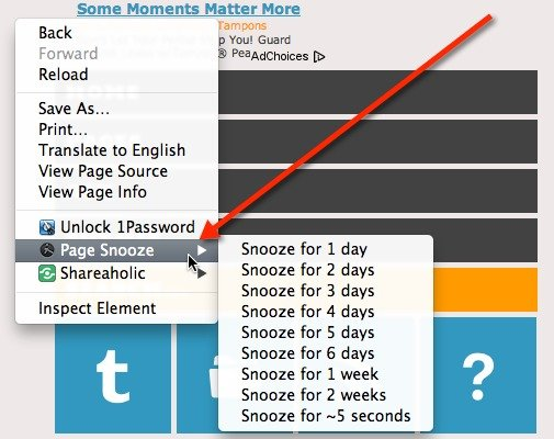 Snooze your tab from the right-click context menu.