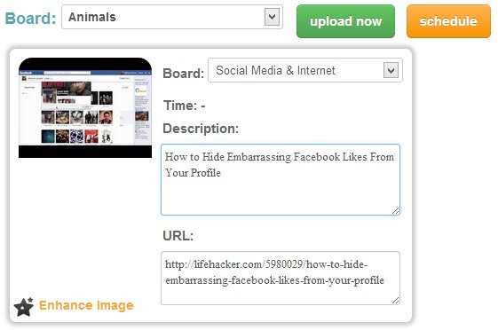 Customize your pin and choose to upload now or schedule for later.