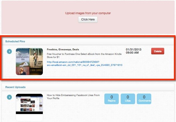 View your scheduled pins and recent uploads on the Pingraphy dashboard.