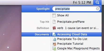 Your Google data will display under Documents in Spotlight.