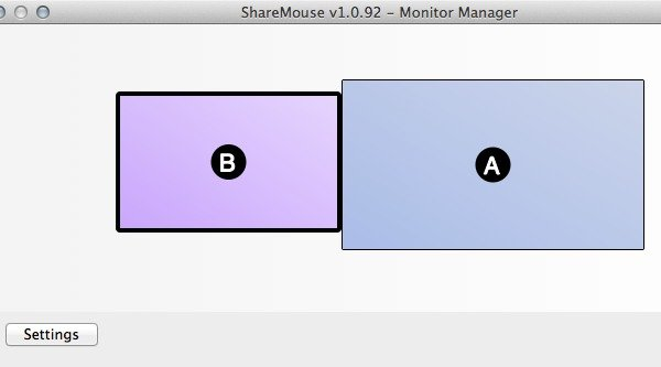 The Monitor Arrangement window is the main dashboard of ShareMouse and displays icons of the monitors of all connected computers and their relative positions.