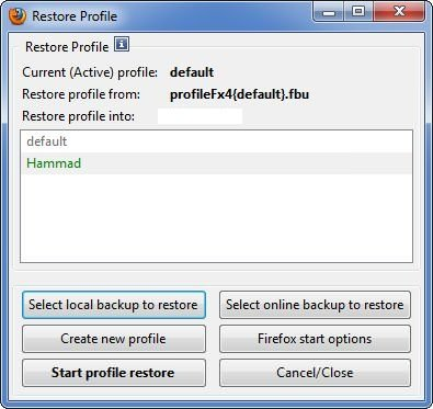 FEBE Restore Profile