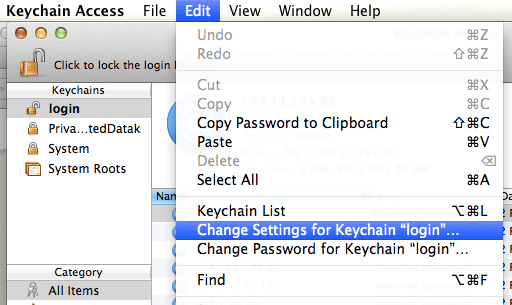 Keychain Access - Change Settings