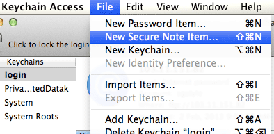 Keychain Access - New Secure Note Item