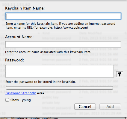 Keychain Access - Outside of Safari