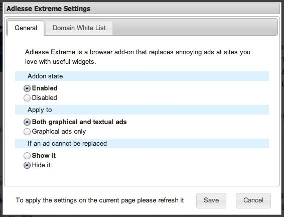 If an ad cannot be replaced, you can hide it in Adlesse Extreme settings.