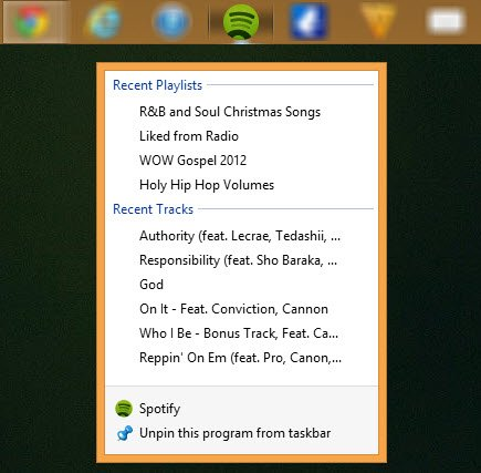 Right-click on the taskbar icon in Windows 8.