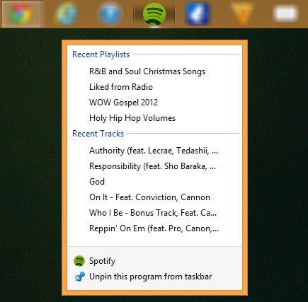 Right-click on the taskbar icon in Windows 8.