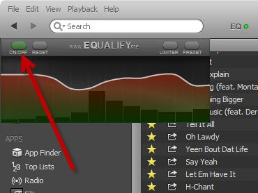 Click the on/off button to turn the equalizer on.