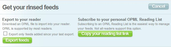 Download the OPML file with your custom RSS feeds from Feed Rinse.