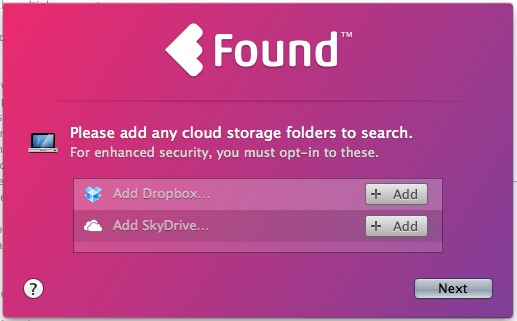 Choose the cloud services that you want to use with Found.