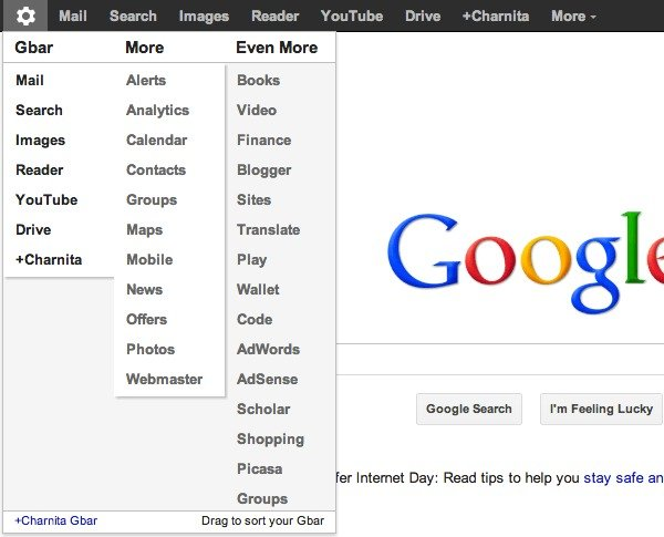 My customized Google Bar after using the +You Gbar Chrome extension.