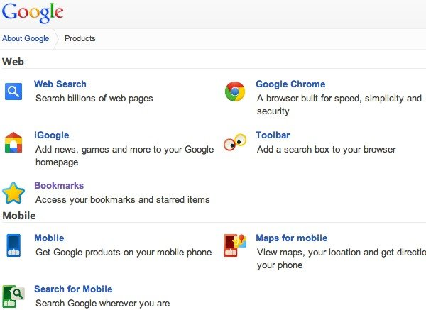 The Google Products page, which can be accessed from 'Even More' on the Google Bar.