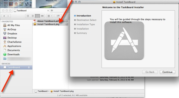 Run the TaskBoard package file and install the app.