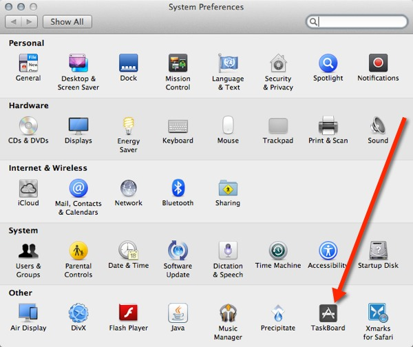 Access the TaskBoard preference pane from System Preferences.
