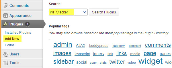 Search for and add the WP Stacker plugin to your blog.