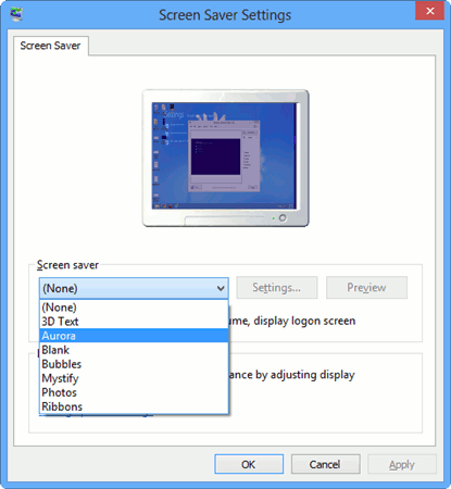 set-the-aurora-screen-saver-in-windows-8