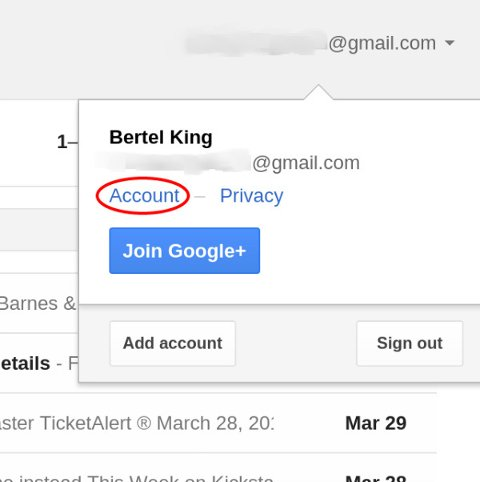 deleting a gmail account