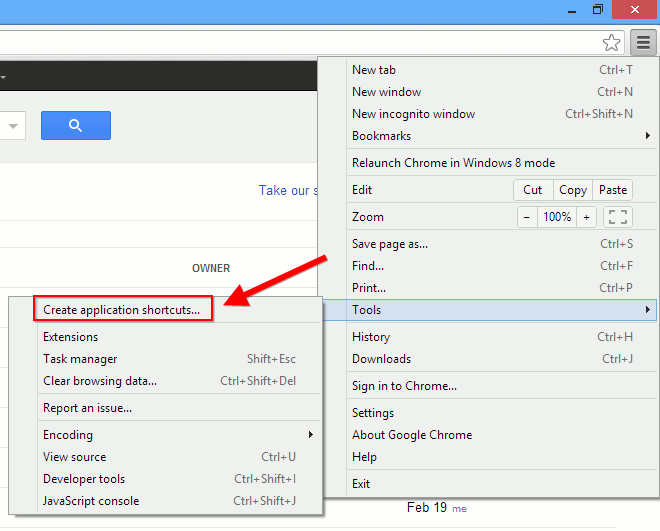 Integrate Google Apps to Windows8-chrome-create-shortcut