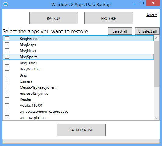 Using Windows 8 Apps Data Backup