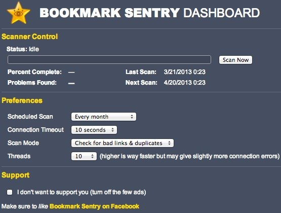 Bookmark Sentry Dashboard