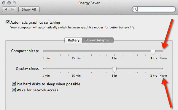 Check your energy saver settings on your Mac.
