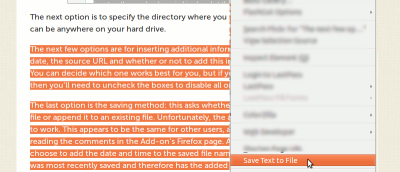 How To Save Highlighted Text in Firefox Into a File